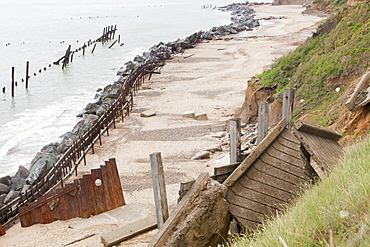 Ramp in the foreground used to be the lifeboat launching ramp until it was destroyed by coastal erosion, Happisburgh, North Norfolk, England, United Kingdom, Europe