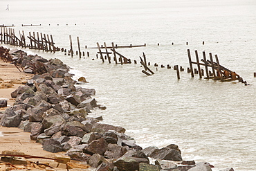 Happisburgh, on one of the most rapidly eroding coastlines in the British Isles, North Norfolk, England, United Kingdom, Europe