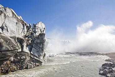 The Russell Glacier draining the Greenland icesheet inland from Kangerlussuaq on Greenland's west coast, Greenland, Polar Regions