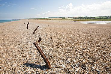 Breach in shingle barrier, North Norfolk coast around Cley, Norfolk, England, United Kingdom, Europe