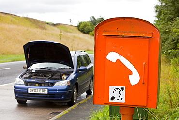 An emergency brekadown phone on the A65 near Settle, Yorkshire, England, United Kingdom, Europe