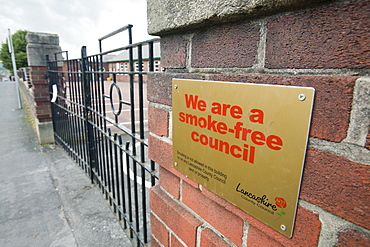 A smoke free sign outside Ribblesdale School in Clitheroe, Lancashire, England, United Kingdom, Europe