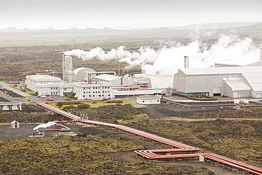 Capturing geothermal steam from boreholes to power the Svartsengi geothermal power station in Keflavik near Reykjavik in Iceland, Polar Regions