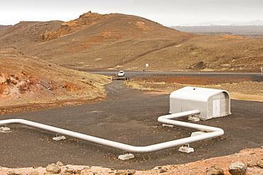 Capturing geothermal steam from boreholes to power the Reykjanes geothermal power station near Reykjavik in Iceland, Polar Regions - 911-6812