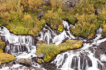 Hraunfossar waterfalls on the Hvita river, Iceland, near Husafell Polar Regions