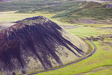 Grabrokarfell a crater caused by a fissure eruption near Reykholt in Iceland, Polar Regions