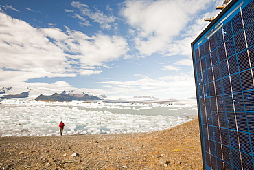 A solar panel at the Jokulsarlon ice lagoon, one of the most visited places in Iceland, Polar Regions