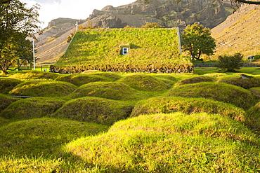 A 19th century turf roofed church at Litla Hof on Iceland's south coast, Iceland, Polar Regions