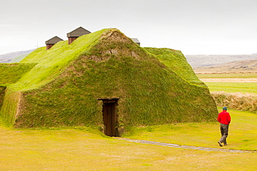 A reconstructed Viking long house near Selfoss in Iceland, Polar Regions