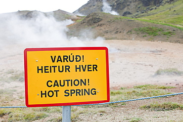 Hveragerdi on the Varma river is a geothermal hot spot, with steam rising from fumeroles in the middle of town, South West Iceland, Polar Regions