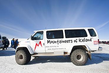 A tour guide's massive four wheel drive on the Langjokull ice sheet from Gullfoss, Iceland, Polar Regions