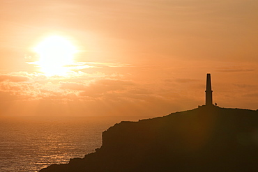 Sunset over Cape Cornwall, Cornwall, England, United Kingdom, Europe