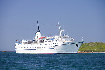 A cruise ship off Tresco in the Scilly Isles, United Kingdom, Europe
