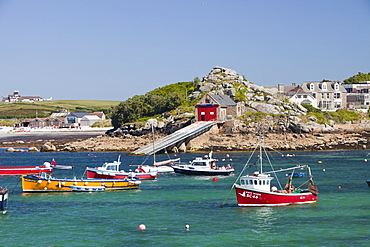 Boats in Hugh Town harbour, St. Mary's, Scilly Isles, United Kingdom, Europe