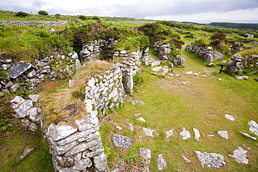 The ancient Chysauster settlement near Penzance in Cornwall, the best preserved iron age settlement in the west country.