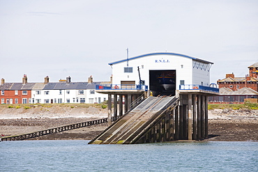 The RNLI lifeboat launching station on Roa Island, Barrow in Furness, Cumbria England, United Kingdom, Europe