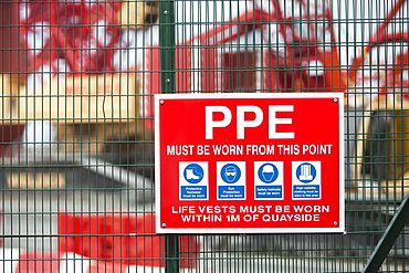 A sign about PPE, Walney Offshore Windfarm project, Cumbria, England, United Kingdom, Europe