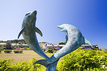 The Dolphin sculpture by David Wynne in the grounds of the Island Hotel on Tresco, Isles of Scilly, United Kingdom, Europe