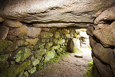 The Fouguo, an ancient underground tunnel found, Carn Euny, a well preserved Iron Age settlement, near Sancreed, Cornwall, England, United Kingdom, Europe
