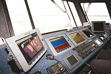 The bridge of the offshore support vessel being used by Dong Energy to ferry staff out to the offshore wind farm, Barrow in Furness, Cumbria, England, United Kingdom, Europe