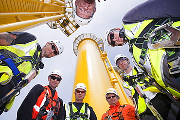 Workers involved in the Walney Offshore Wind Farm, Barrow in Furness, Cumbria, England, United Kingdom, Europe
