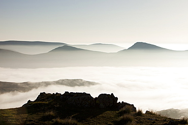 A temperature inversion with valley mist over Red Screes near Ambleside, looking towards the Kentmere Fells, Lake District National Park, Cumbria, England, United Kingdom, Europe