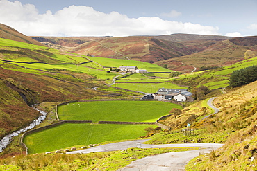 A remote hill farm in the Brennand Valley off the Dunsop Valley above Dunsop Bridge in the Trough of Bowland, Lancashire, England, United Kingdom, Europe