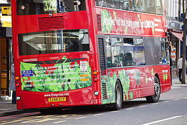 An electric hybrid technology bus in London, England, United Kingdom, Europe