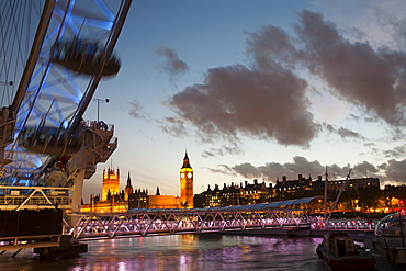 The London Eye and the Houses of Parliament across the River Thames, London, England, United Kingdom, Europe