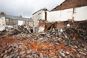 Condemned houses being demolished in Barrow in Furness, Cumbria, England, United Kingdom, Europe