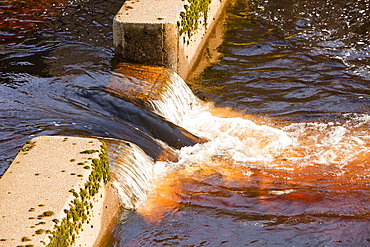 A flow measurement station and fish ladder on the River Dunsop in the Dunsop Valley above Dunsop Bridge in the Trough of Bowland, Lancashire, England, United Kingdom, Europe