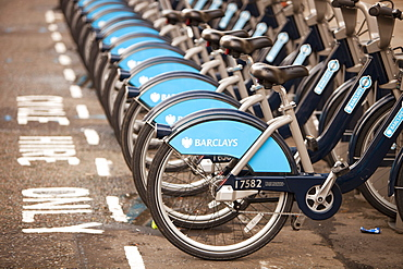 Barclays Cycle Hire scheme (Boris Bikes), part of a green initiative by Transport for London, London, England, United Kingdom, Europe