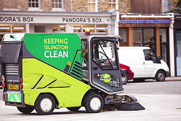 A street cleaning vehicle on the streets of Islington, London, England, United Kingdom, Europe