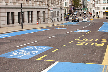 Cycle Superhighways, in this case the CS7 that goes from Southwark bridge to Tooting, London, England, United Kingdom, Europe