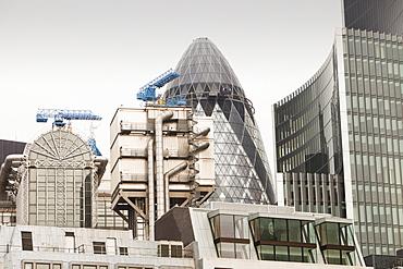 The London City skyline including the Swiss Re Tower, London, England, United Kingdom, Europe