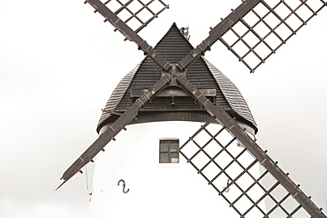 Sail damaged in high winds in 2010 on the iconic Lytham windmill which was built in 1805, Lytham St. Annes, Lancashire, England, United Kingdom, Europe