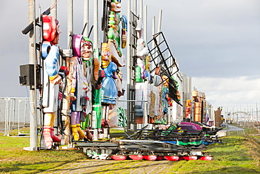 Damage caused by high winds in 2010 to the iconic Blackpool illuminations, Blackpool, Lancashire, England, United Kingdom, Europe