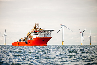 Offshore support and cable laying vessels, The Walney Offshore Windfarm, 15km off Barrow in Furness in Cumbria, England, United Kingdom, Europe