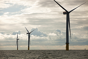 The Walney Offshore Windfarm, located 15km off Barrow in Furness in Cumbria, England, United Kingdom, Europe