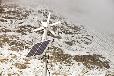 A road sign powered by renewable energy on Kirkstone Pass, Lake District, Cumbria, England, United Kingdom, Europe