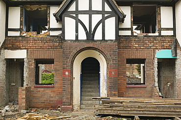 Council houses being demolished after the floods in Carlisle, Cumbria, England, United Kingdom, Europe