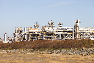 A gas terminal at Barrow in Furness that processes natural gas from the Morecambe Bay gas field which is piped ashore near Rampside, Cumbria, England, United Kingdom, Europe