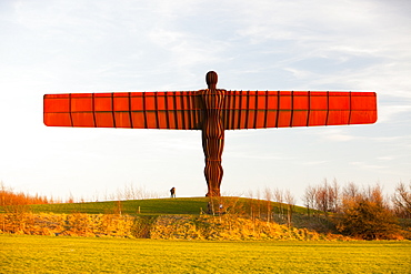 The Angel of the North, a massive steel sculpture above Gateshead by the artist Antony Gormley, Tyneside, England, United Kingdom, Europe