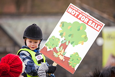Members of the public protesting in Grizedale Forest against government proposals to sell off Forestry Commission land, Lake District, Cumbria, England, United Kingdom, Europe