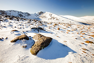 Looking into Coire an Sneachda on the Cairngorm mountains in winter, Scotland, United Kingdom, Europe