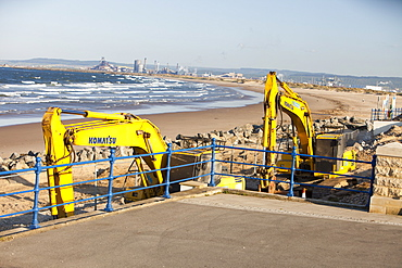 Rebuilding the sea wall in Seaton Carew on Teesside, England, United Kingdom, Europe
