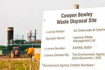Cowpen Bewley landfill site taps off methane from the decomposition of organic waste and feeds it directly into the gas grid, with the gas plant in the background, Billingham, Teesside, England, United Kingdom, Europe