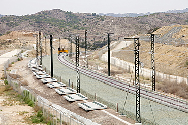 A new electrified railway line being built into Alicante, Murcia, Spain, Europe