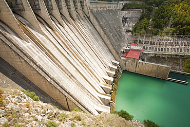 The Iznajar hydro electric power station near Antequera in Andalucia, Spain, Europe