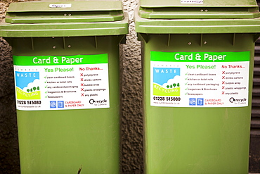 Recycling bins outside an Ambleside hotel, Cumbria, England, United Kingdom, Europe
